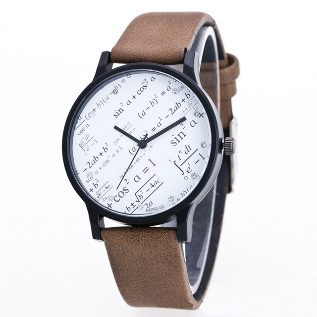 Fashion Maths Formula Couple Quartz Wristwatches Caculation Leather Strap Watche