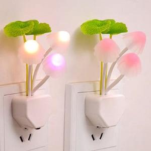 Image 1 - 참신 미국 및 eu 플러그 밤 빛 유도 꿈 버섯 곰 팡이 led 램프 3 led 버섯 램프 led 야간 조명
