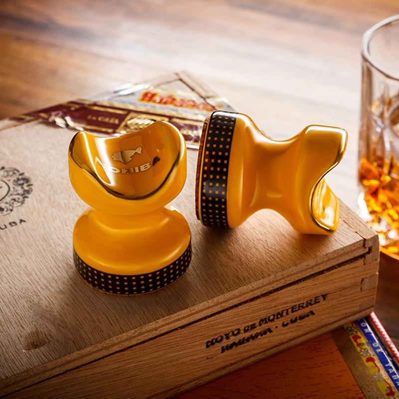 COHIBA Cigar Ashtray Holder 2 pcs Pocket Ceramic Cigar Holder