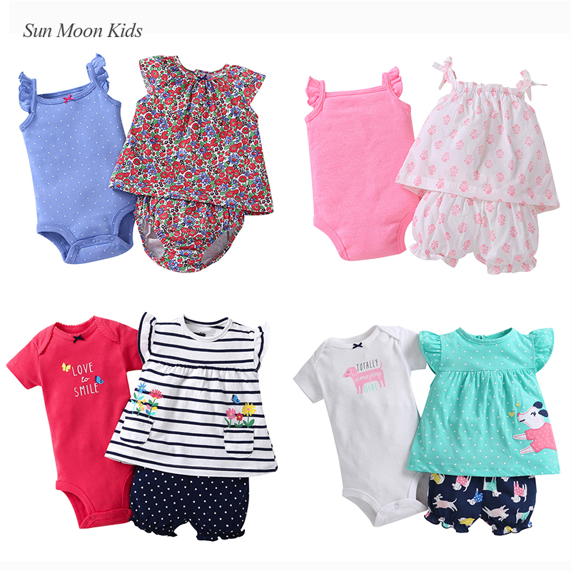 3 Pieces Newborn 100% Cotton Clothes Bebes Jumpsuit Infant Clothes Babys Sets Fashion Girls Christening Outfits Kids Costumes