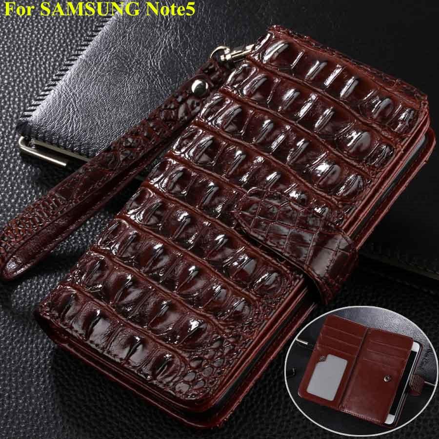 imágenes para Nuevo Para El Samsung Galaxy Note 5 Cubierta de la Caja de Lujo Del Cocodrilo Patterm Cajas Del Teléfono Para Samsung Note5 Funda Cartera de Cuero Del Tirón