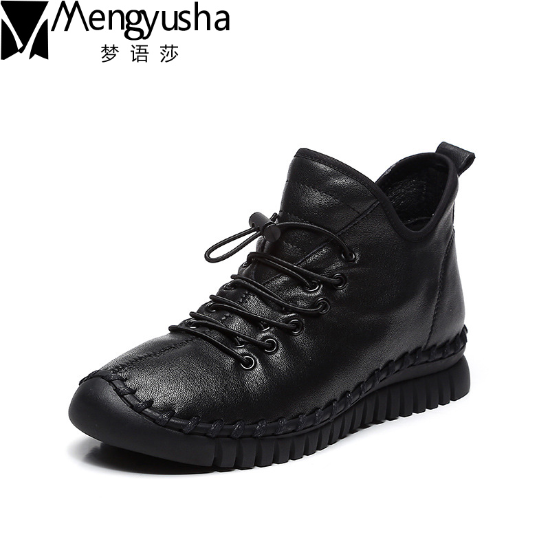 New Women Ankle Boots Hand-made Genuine Leather Woman Boots Spring Autumn Soft Comfortable Casual Shoes Lady Footwear Short Boot spring autumn boots women soft footwear classic boots female comfortable outdoor shoes aa20131
