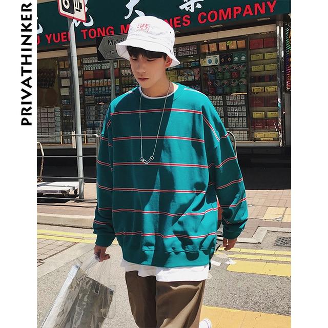 Privathinker для мужчин костюмы 2018 s полоса Уличная толстовки хлопок мужской хип хоп корейский более Размеры d толстовка плюс