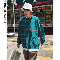 Privathinker Men Clothing 2018 Mens Stripe Streetwear Hoodies Cotton Male Hiphop Korean Oversized Sweatshirt Plus Size