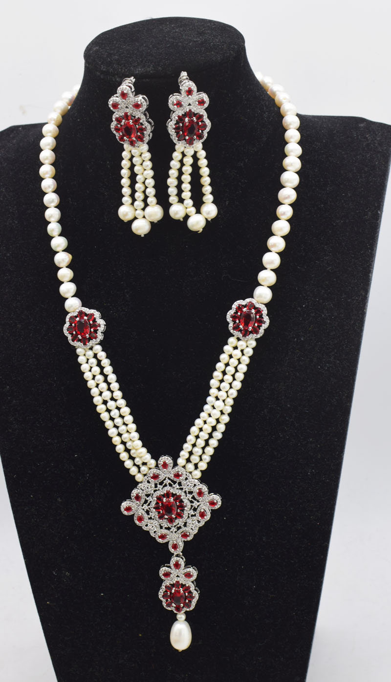one set freshwater pearl white near round 7-8mm necklace earrings 18inch FPPJ wholesale beads nature freshwater pearl white near round and red jade leopard clasp necklace 18inch fppj wholesale beads nature