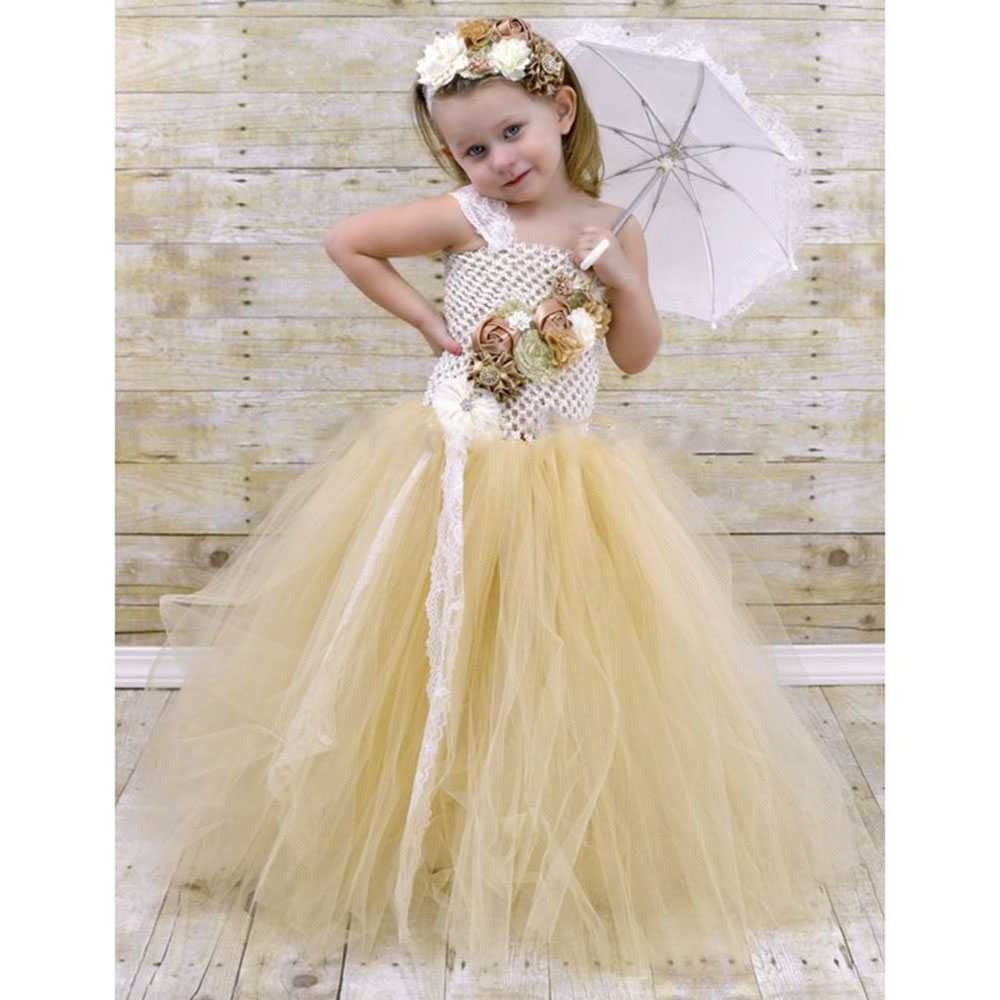 Flower Girl Lace Tulle Tutu Dress Couture for Kids Satin Shabby Flower One Shoulder Dress with Lace Headband Girls Pearl Clothes (6)
