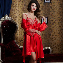 купить Xifenni Robe Sets Female Satin Silk Sleepwear Women Lace Embroidery Long-Sleeve Bathrobes Two-Piece Faux Silk Night Gown 20244 дешево