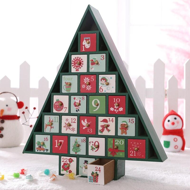 Рождественская елка дом с ящиком Рождественское украшение креативная Деревянная Рождественская елка, конфеты для хранения X'mas календарь о... - 4