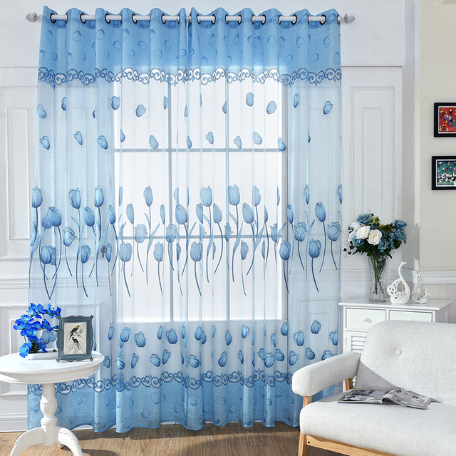 Superbe Country Style Bedroom Living Room Decoration Tulip Flowers Sheer Curtain  Floral Curtain Panels For Door Window
