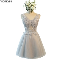 Cocktail Dresses 2017 Gray Color V Neck FLowers Crystal Cocktail Party Dress