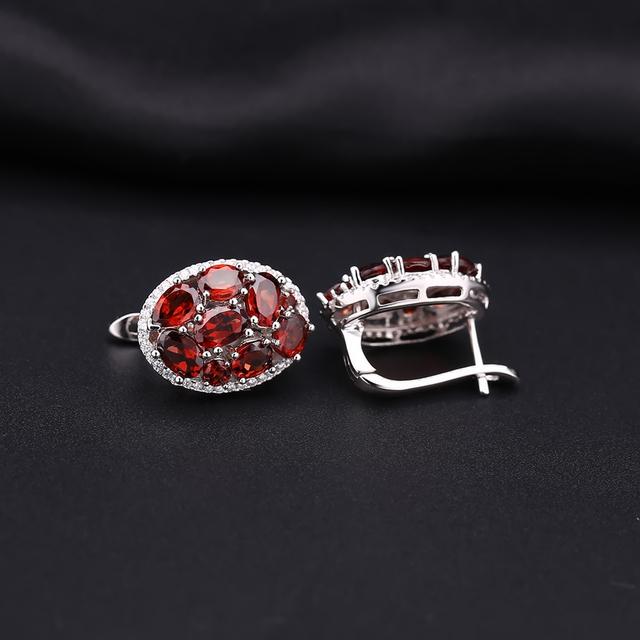 GEM'S BALLET 7.95Ct Natural Red Garnet Vintage Earrings 925 Sterling Silver Gemstone Stud Earrings For Women Fine Jewelry