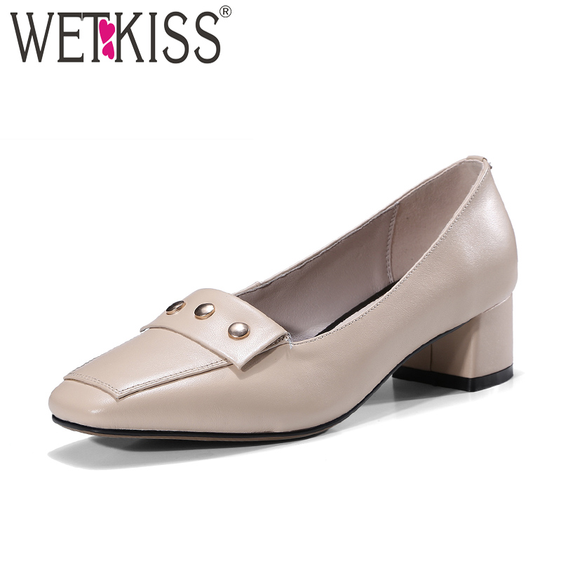 WETKISS Patent Leather Shallow Women Pumps Square Toe Slip On High Heels Rivet Footwear New Spring Office Mature Ladies Shoes