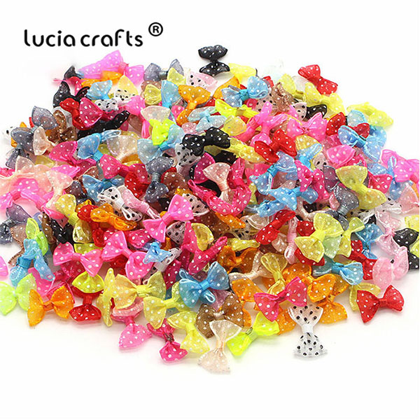 Lucia crafts, 2,5 см, 12 шт./24 шт., банты из органзы в горошек, для девочек, бутик, мини бант для волос, головной убор, сделай сам, одежда для рукоделия, B0810 - Цвет: Mixed Colors 24pcs