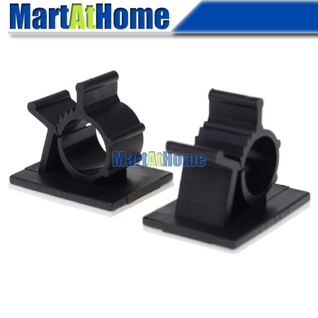 25pcs Black Adhesive Backed Nylon Wire Adjustable Cable Clips Clamps ...