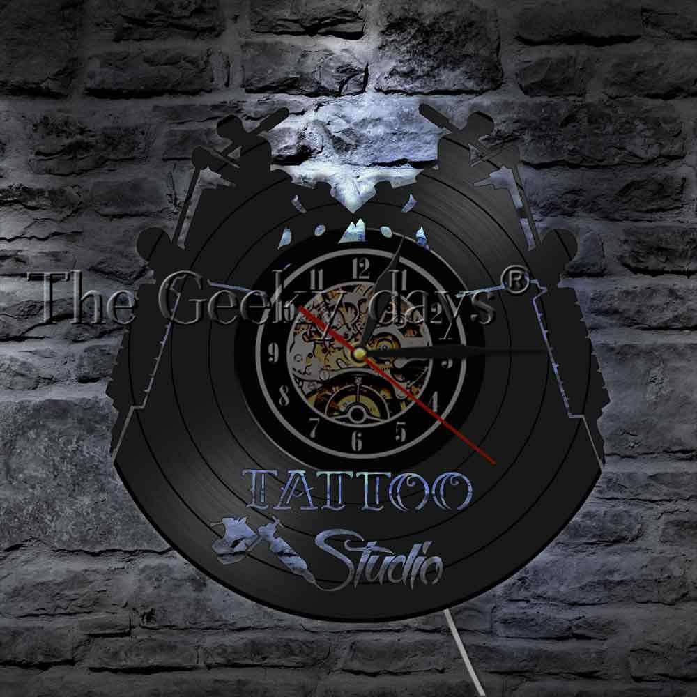 Tattoo Studio Logo Business Sign Vintage Vinyl Record Wall Clock Tattoo  Salon Inauguration Decorative Wall Clock Tattooist Gift