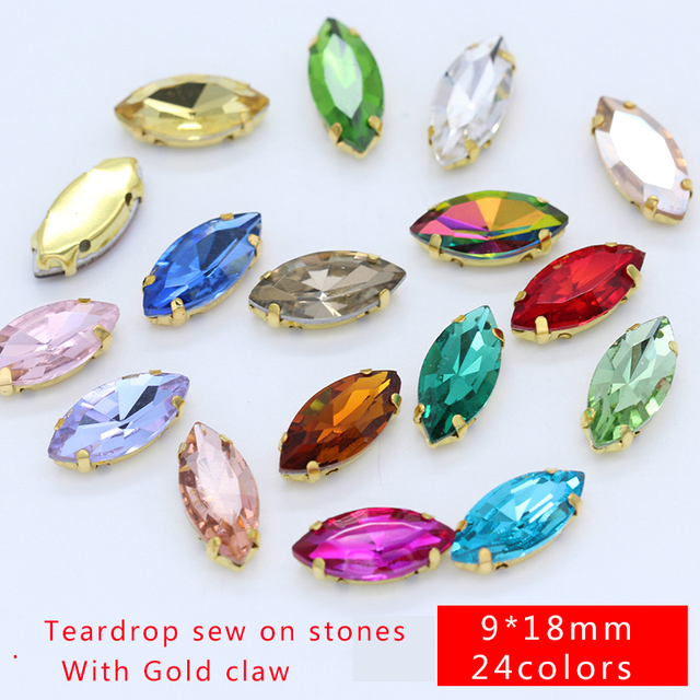 30p 9x18mm Navette color sew on crystal faceted glass flatback rhinestone  gold base jewels Gems for d6685f07b650