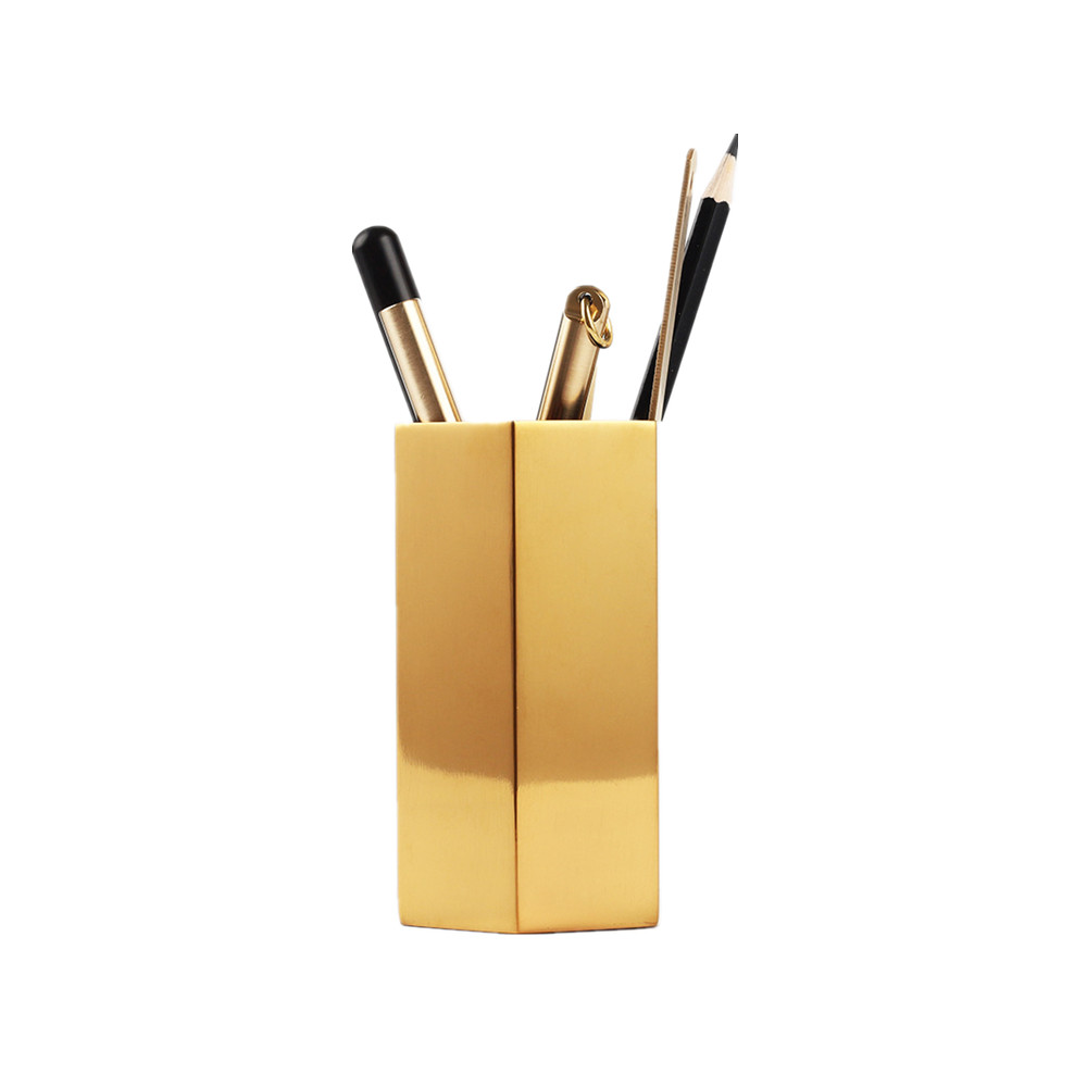 Luxury Desk Organizer Gold Stainless Steel Pencil Holder Case Pencil Container Office Stationery Holder Hexagon Desk Accessories luxury desk organizer gold stainless steel pencil holder case pencil container office stationery holder hexagon desk accessories
