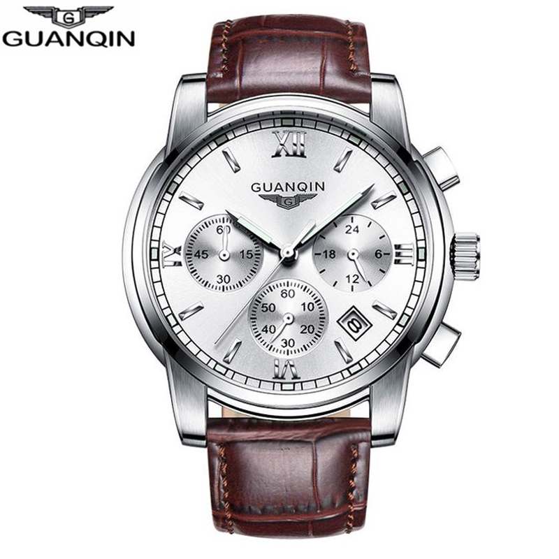 GUANQIN Mens Watches Top Brand Luxury Fashion Business Chronograph Quartz Watch Men Sport Stainless Steel Waterproof Wristwatch didun mens watches top brand luxury watches men steel quartz brand watches men business watch luminous wristwatch water resist