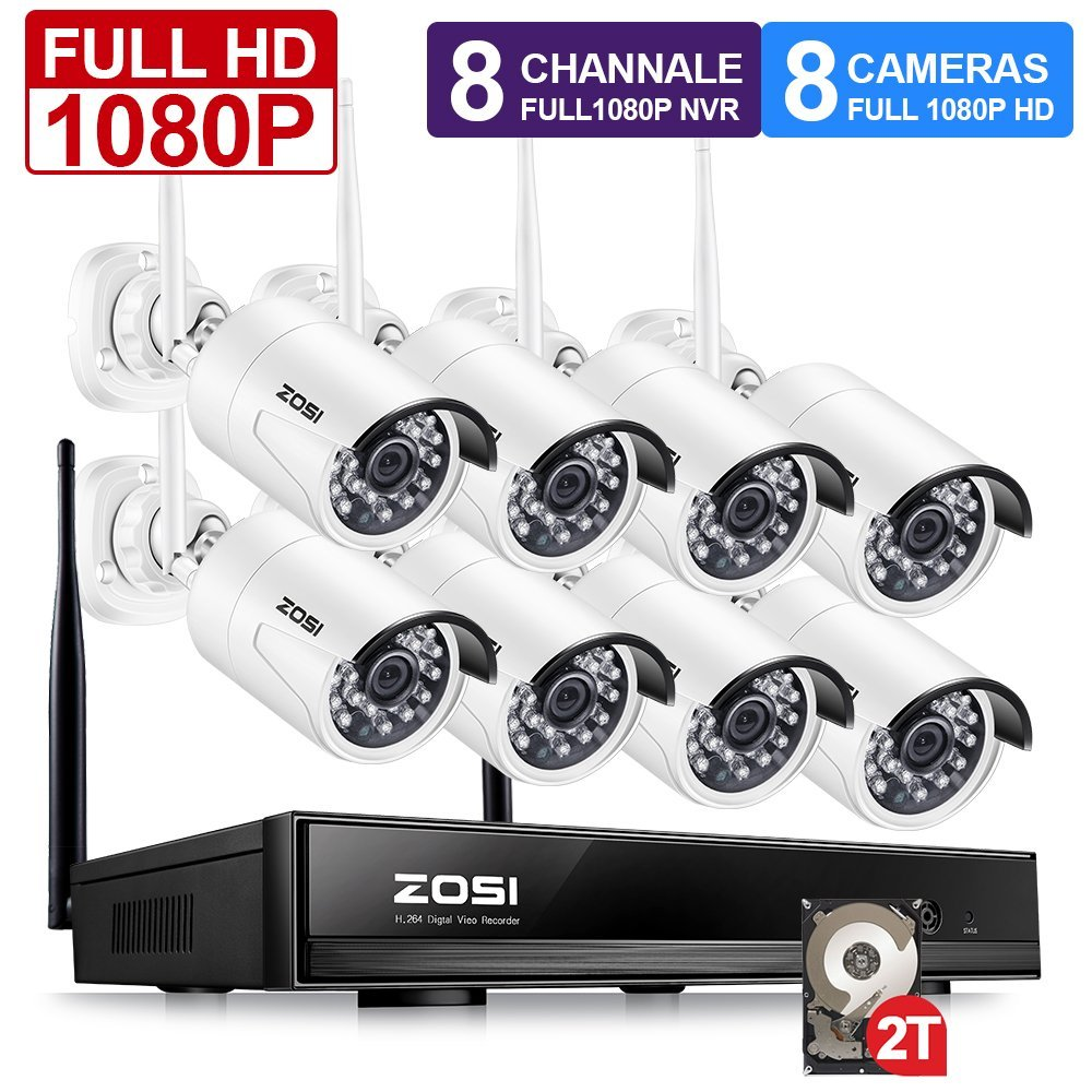 ZOSI Plug and Play 8CH 1080 p HD Sans Fil NVR Kit P2P 2.0MP Intérieur Extérieur IR Vision Nocturne Sécurité IP caméra DE VIDÉOSURVEILLANCE WiFi Système