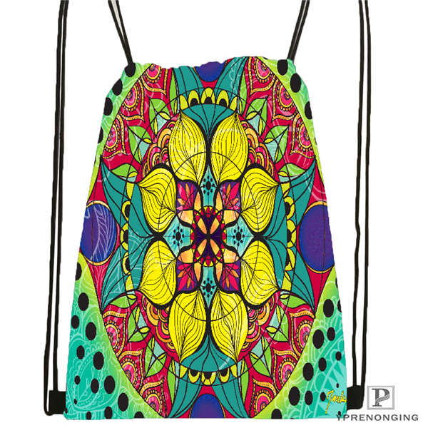 Custom Mandala El Laberinto De Rosa@5  Drawstring Backpack Bag Cute Daypack Kids Satchel (Black Back) 31x40cm#20180611-02-99