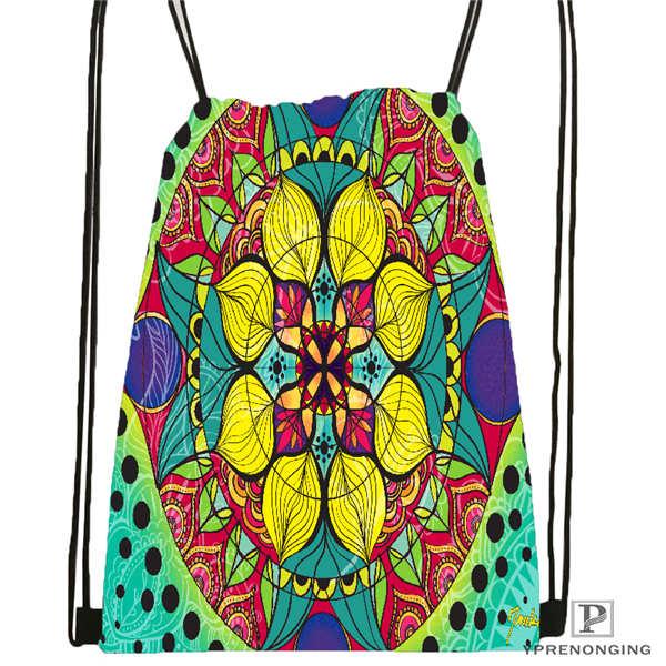 Custom mandala El Laberinto de Rosa 5 Drawstring Backpack Bag Cute Daypack Kids Satchel Black Back