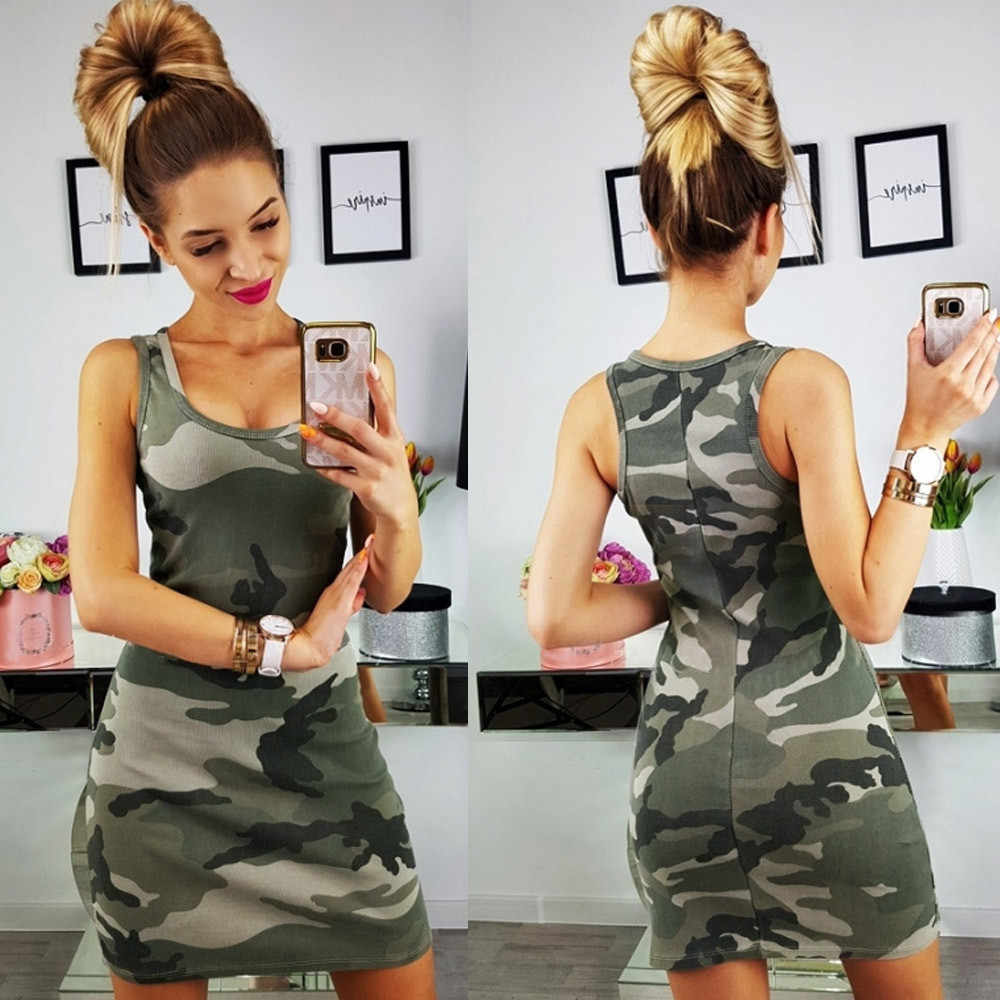 3021de3e8a2d752 Сексуальное мини-платье Для женщин 2019 Лето Тонкий Повседневное Камуфляж  Военной Печати Высокая Талия Майка