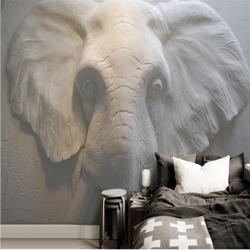Beibehang 3D Stereo Elephant Background Wall Painting