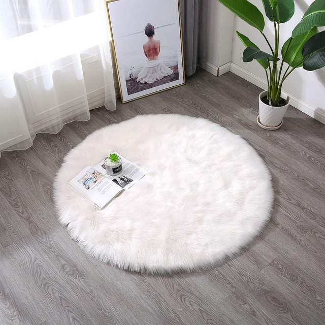 Townssilk White Faux Sheepskin Area Rug Chair Cover Seat Pad Plain Shaggy Area  Rugs For Bedroom
