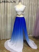 Gardlilac Dwa kawałki Niebieski biały Kolor Gradientu Długa Suknia z aplikacja frezowanie Side splicie Formalna party Dress