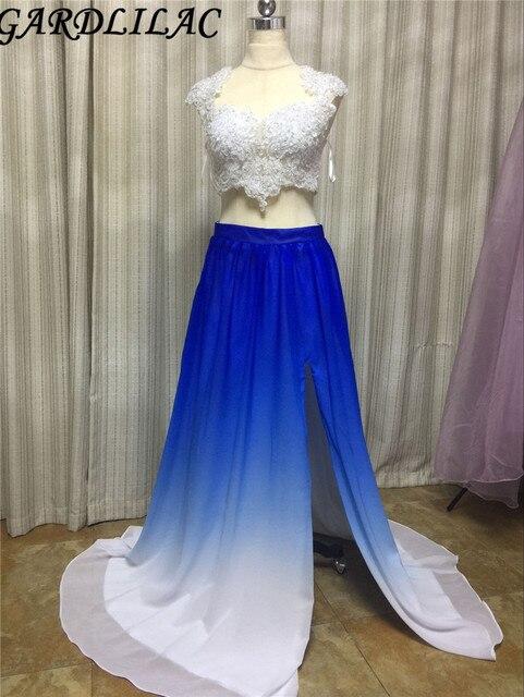 d53f3fed699 Gardlilac deux pièces bleu blanc dégradé couleur longue robe de bal avec  appliques perles côté fendu