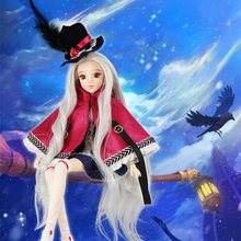 1/6 BJD Doll MMgirl white skin joint body Major Arcana THE MAGICIAN joint body doll grey hair with hat and Cloak TAROT CARD 30cm(China)