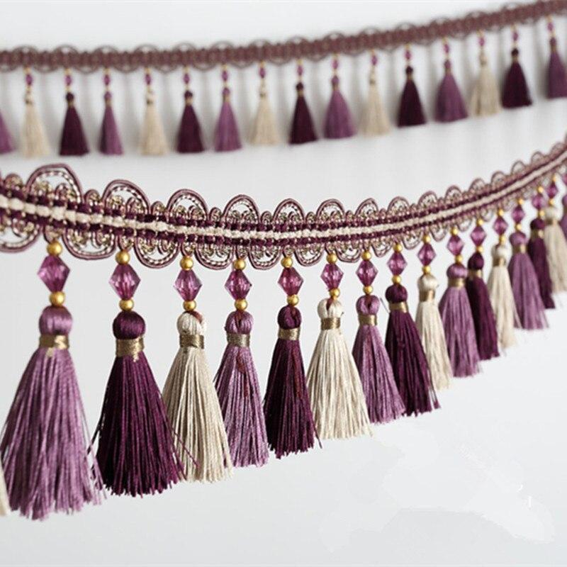 Nouveau 6 M/Lot 10 cm large rideau accessoires perles de cristal dentelle gland franges garniture rubans bricolage draperie tissu canapé décor à la maison