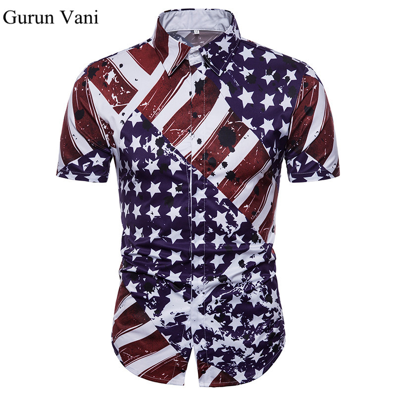 2018 New Mens Flag 3D Print Shirt Fashion Do The Old Style Short Sleeve Shirt Male Dress Brand Clothes Summer Shirt For Man