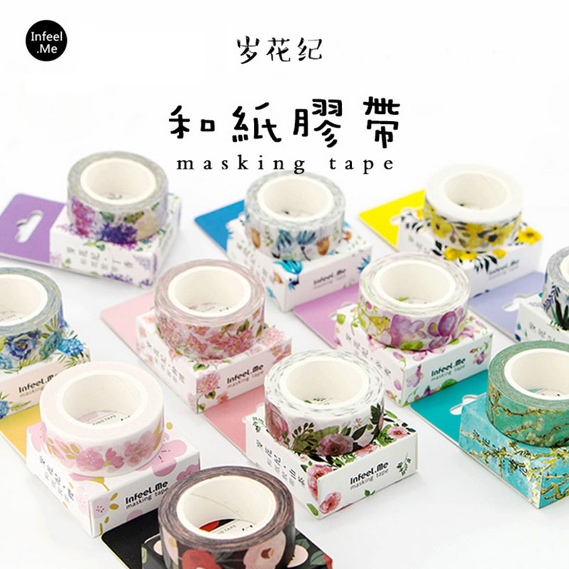 1 pcs flowers series 15 mm X 7 m washi tape children DIY Diary decora masking tape stationery scrapbooking tool stationery 10cm 5m korean natural style deco masking tape planet flowers design washi tape diy scrapbooking diary creative stationery
