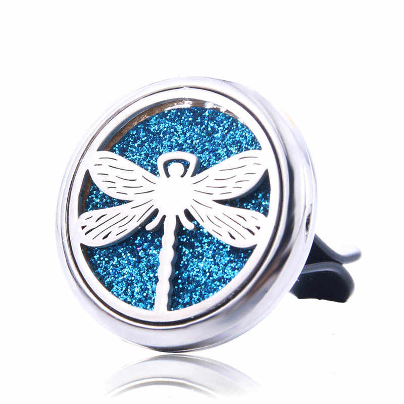 Dragonfly Car Air Diffuser Stainless Steel Vent Freshener Car Essential Oil Diffuser Perfume Aromatherapy Necklace Open Locket