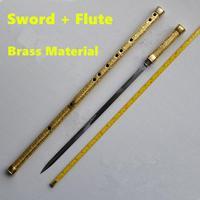 Латунная металлическая флейта + меч C ключом Тай Чи Бодибилдинг меч Flauta боевые искусства меч флейта поперечная флейта оружие самообороны