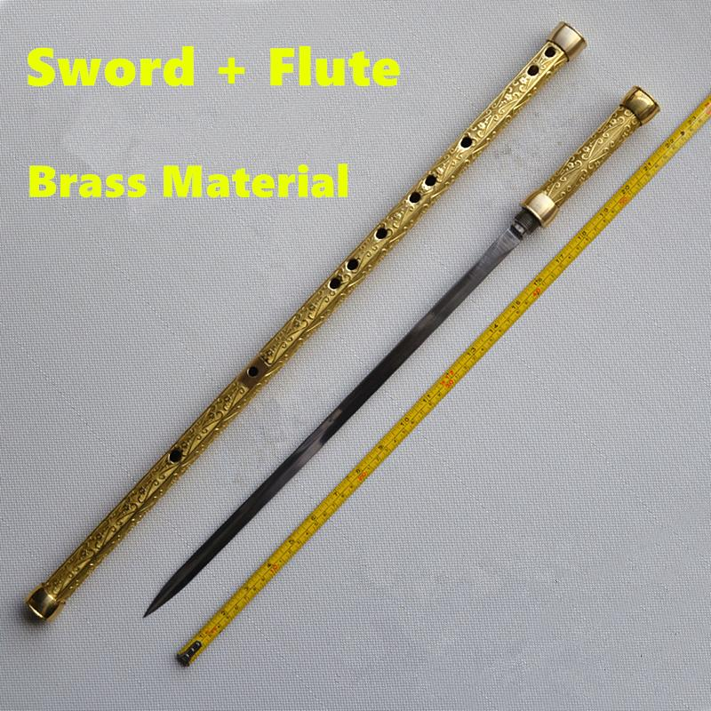 Laiton métal flûte + épée C clé Tai Chi musculation épée Flauta Arts martiaux épée flûte transversale flûte auto-défense arme