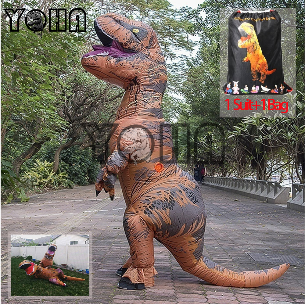 Halloween Party Adult T-REX Costume Jurassic World Park Blowup Dinosaur Cosplay Animal Inflatable Costume Party Costume Pig,