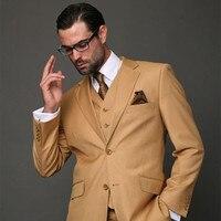2017 עיצובים צפצף המעיל האחרונים חליפת גברים חאקי חום קלאסי mens Slim Fit מעיל בלייזר Custom 3 Piece חתונה מודרנית חליפות