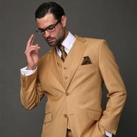 2017 Nieuwste Jas Broek Ontwerpen Bruin Kaki Klassieke Mannen Pak Slim Fit Moderne Bruiloft Blazer Custom 3 Stuk Jacket mens suits