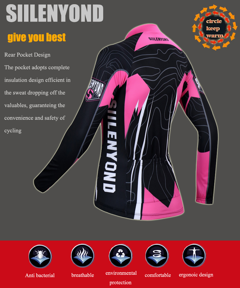 Siilenyond 2019 Women Pro Winter Thermal Cycling Jersey Long Sleeve Mountain Bicycle Cycling Clothing MTB Bike Cycling Clothes 6