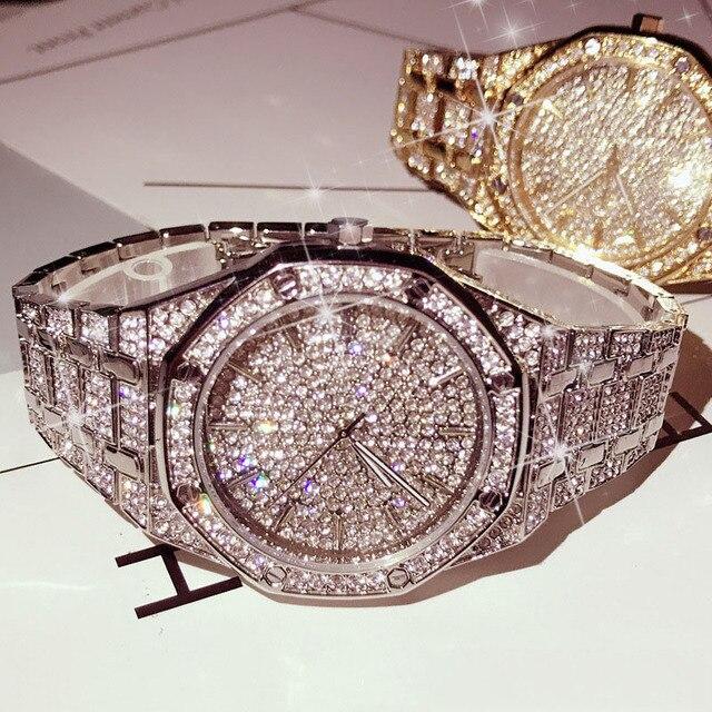 KIMSDUM 男性 2019 高級ブランドデザインクオーツダイヤモンドの腕時計男性アイスアウト腕時計 AAA 防水レザー腕時計