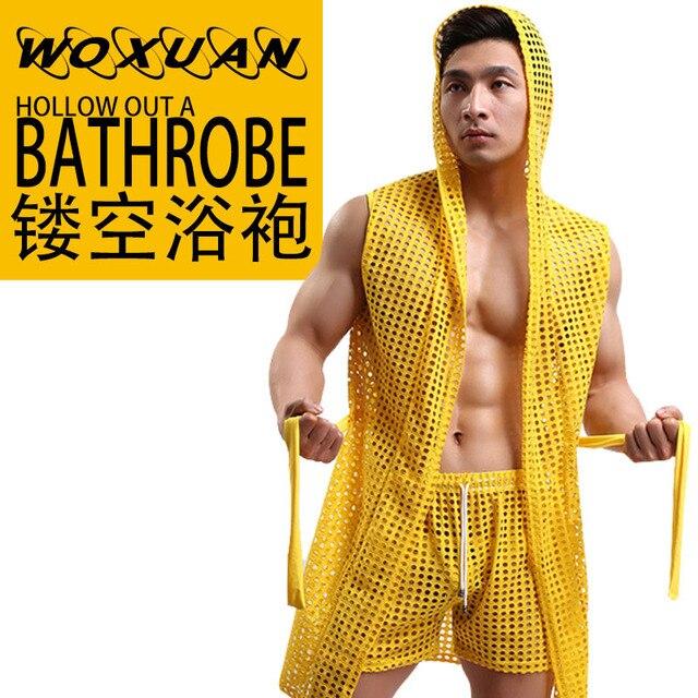 HOT Men Robes Bathrobe Brand WOXUAN Sexy Men Robe Sleepwear Mesh Hoodie Sleep Lounge Pajama Gay Wear 1PCS