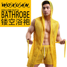 HOT Men Robes Bathrobe Brand WOXUAN Sexy Men Robe Sleepwear Mesh Hoodie Sleep Lounge Pajama Gay Wear 1PCS