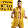Los Hombres CALIENTES Robes Albornoz Marca WOXUAN Sexy Hombres Duermen Salón Bata Ropa de Dormir de Malla Con Capucha Pijama Desgaste Gay 1 UNIDS