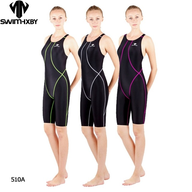 130caaa19e422 HXBY professional competition knee length waterproof chlorine resistant  women s swimwear sharkskin swimsuit plus size 5xl