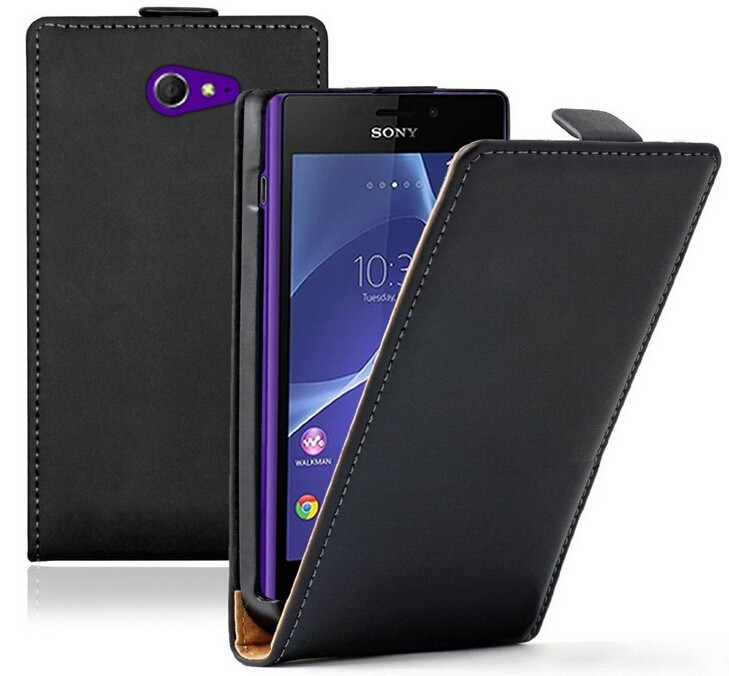 Genuine Leather Flip Case Sony Xperia M2 S50h Magnetic Pouch Cover Cases s PY - SGP Hybrid Official Store store