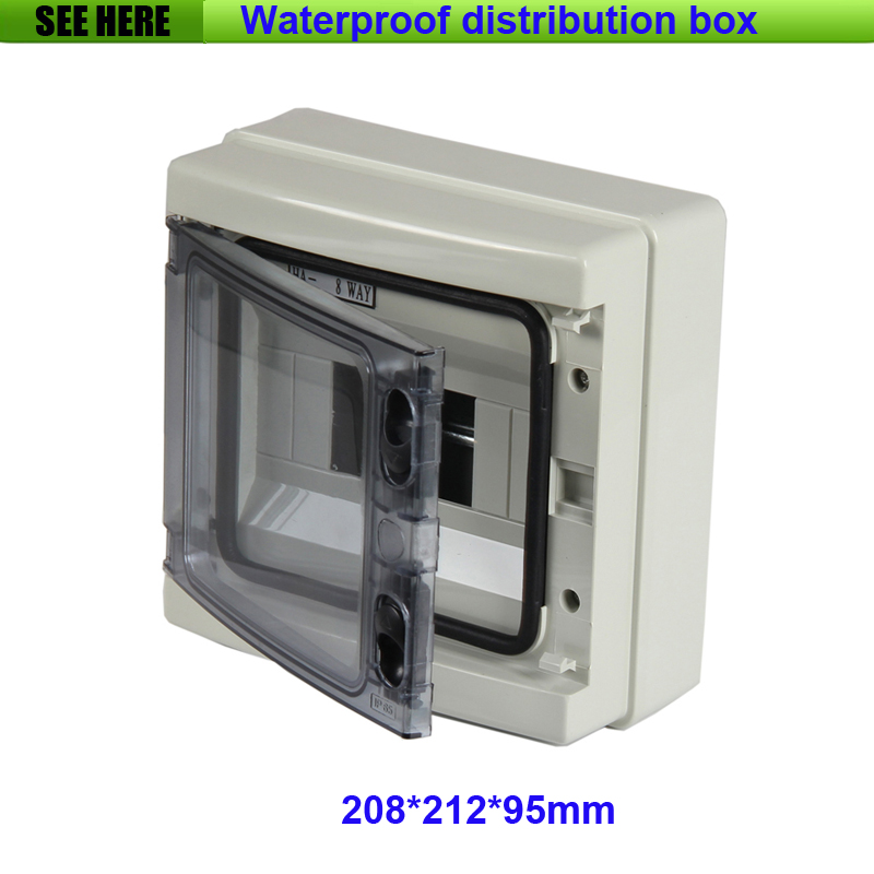 Free Shipping Grey IP66 Waterproof Power Distribution Box ABS Material Waterproof Box 212*208*95mm 1 piece free shipping anodizing aluminium amplifiers black wall mounted distribution case 80x234x250mm