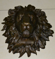 Copper Brass CHINESE crafts Asian Exquisite huge Lion head flat copper sculpture statue art hanging wall H18.1