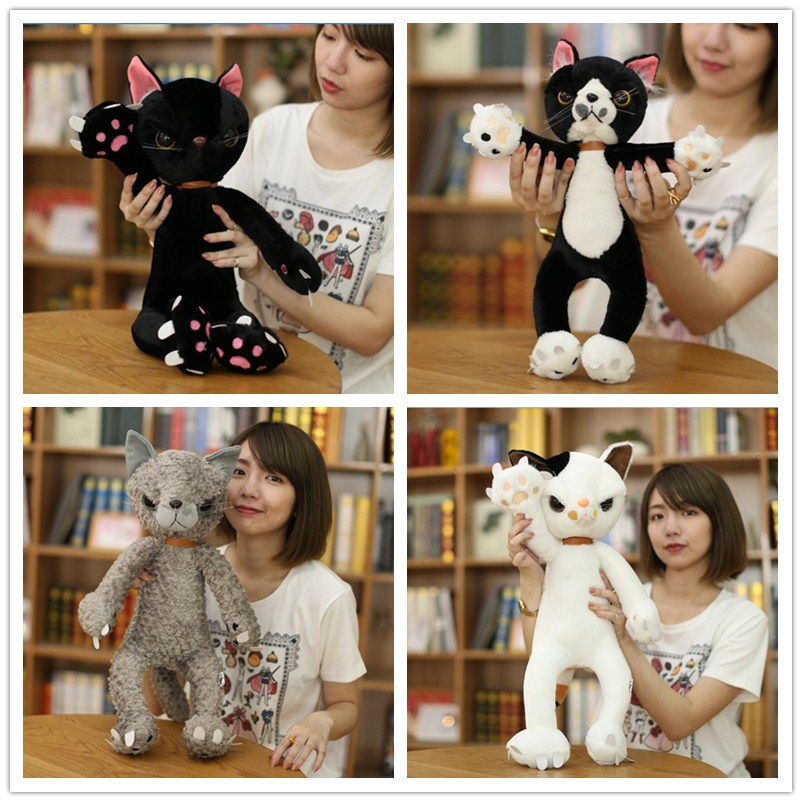 40 CM/60 CM Stopften Katzen Plüschtiere Japan Scratch Kätzchen Peluche Sharp Pfote Neko Stofftier Kinder Kinder Novel Geschenke